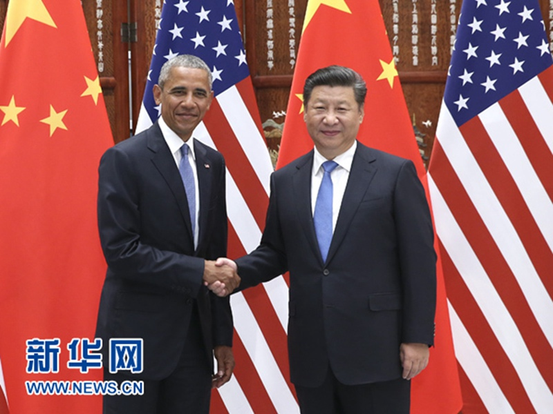 9月3日,国家主席习近平在杭州西湖国宾馆会见前来出席二十国集团领导人杭州峰会的美国总统奥巴马。 新华社记者庞兴雷摄