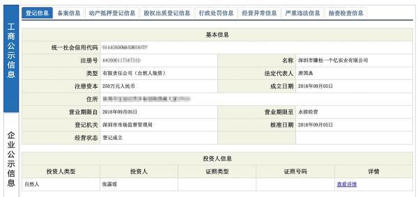 深圳市赚他一个亿实业有限公司工商信息。网络资料