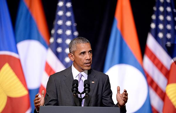 当地时间2016年9月6日,老挝万象,美国总统奥巴马访问老挝,在老挝国家文化宫发表演讲。 视觉中国 图
