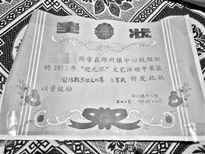 王心蕾生前所获奖状