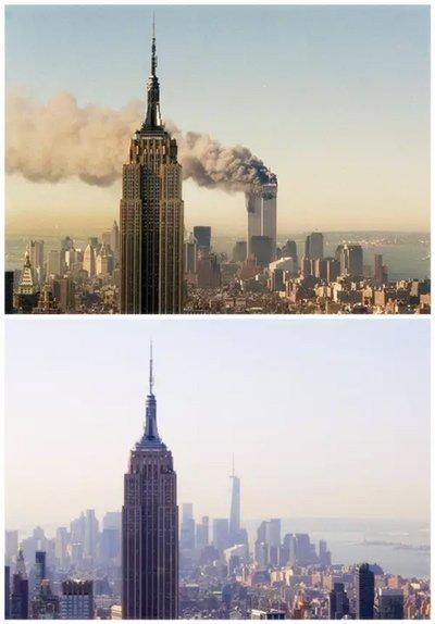 """被飞机撞毁的纽约双子塔已重建为""""自由塔"""","""