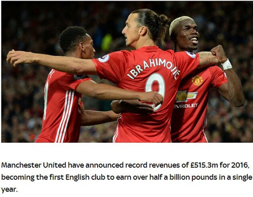 冠绝英伦!曼联赛季收入破5亿镑 仍需仰视巴萨