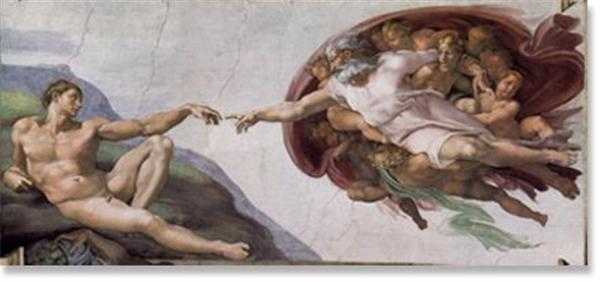 在《创造亚当》中,亚当斜躺在山坡上,右手撑地,体格成熟而健美,但呆滞的目光缺少生机和活力,他正伸出左手等待上帝赋予生命和智慧。上帝从天而降,伸出右手即将于其轻轻相触,画面正定格在这一瞬间。