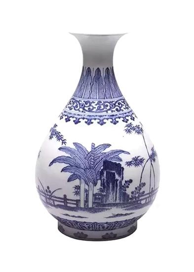 青花竹石纹玉壶春瓶
