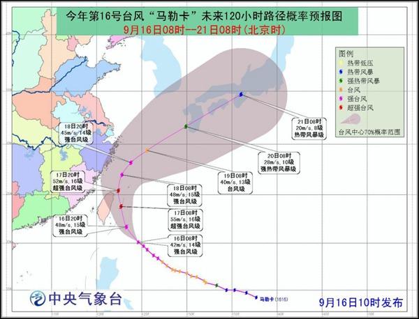 """估计,""""马勒卡""""将以每小时20千米摆布的速率向东南边向挪动,强度逐步加强,最强可达强飓风级到超强飓风级(15~16级,48~55米/秒),逐步向我国台湾以东瀛面凑近,掠过台湾岛东北部内地后转向偏朔方向挪动,进入我国东海海面,此后在华东远洋北上。"""