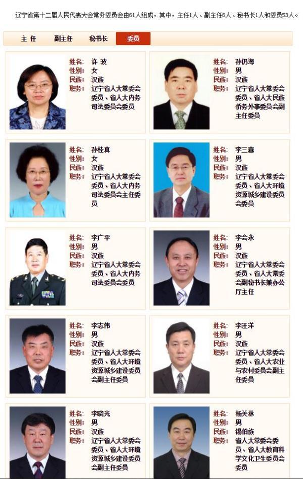 这部分早前的辽宁省人大常委会委员名单中,除许波、李广平、杨军、何明清、张耀军、邱成和等人外,其余人简历均被撤下