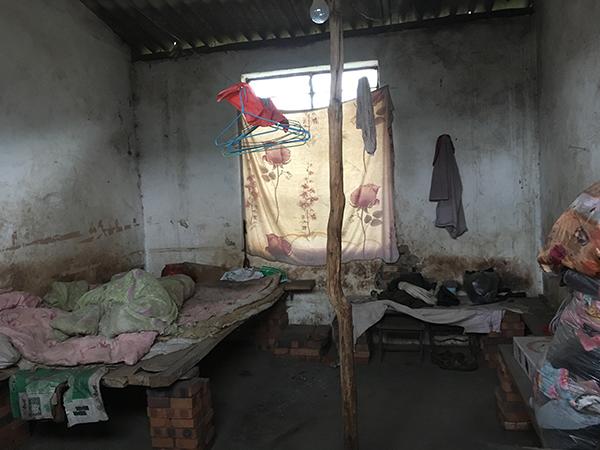 宣威市羊场镇大松树村涉事的盛恒砖厂的平房内,此中这一间窗户由木板遮挡,抽掉木板后看到云云现象,被褥像多年未洗,充满污垢。