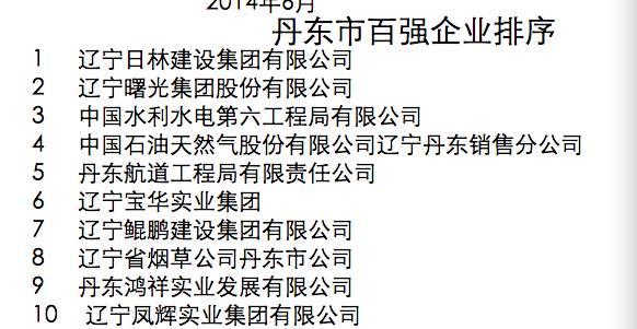 (鸿祥实业2013年列丹东百强企业第9位)