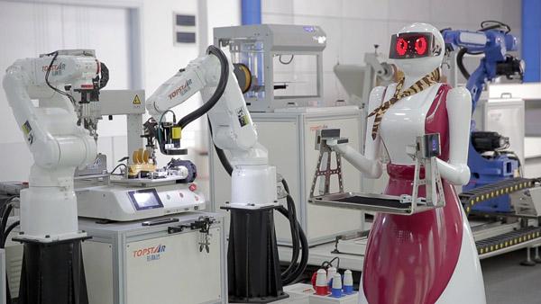 机器人生产线演示。