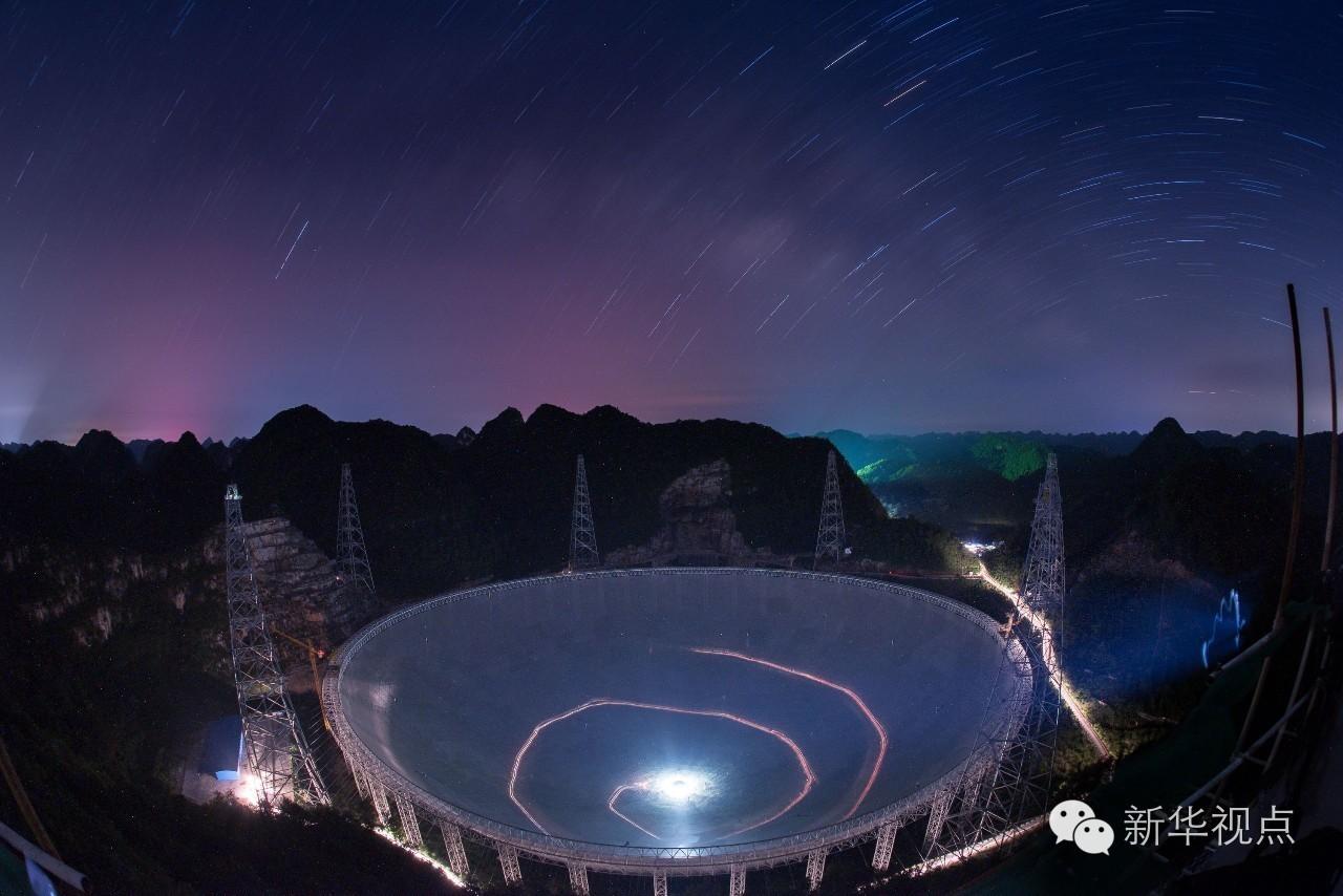 """9月25日,有着""""超级天眼""""之称的500米口径球面射电望远镜(fast)在贵州"""