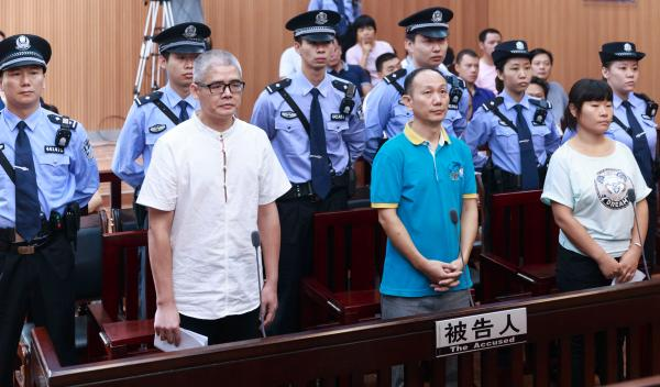 9月26日,广州市番禺区人民法院一审公开开庭审理曾飞洋、汤欢兴、朱小梅聚众扰乱社会秩序案并当庭宣判。新华社 图