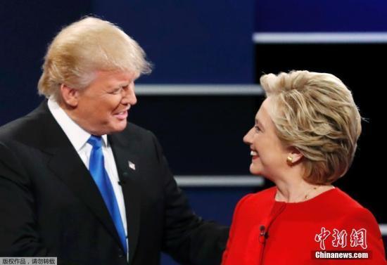 当地时间9月26日晚,美国大选首场总统候选人辩论登场,希拉里特朗普亮相会场。