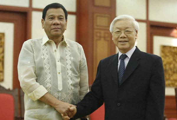 资料图:菲律宾总统杜特尔特28日-29日在越南开展行程紧凑的访问。