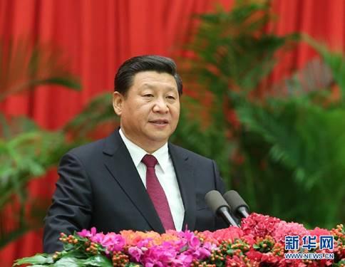2014年9月30日晚,国务院在北京人民大会堂举行国庆65周年招待会,热烈庆祝中华人民共和国成立65周年。中共中央总书记、国家主席、中央军委主席习近平代表党中央、国务院发表重要讲话。新华社记者 庞兴雷 摄