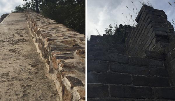 锥子山长城大毛山段经过修缮的部分(左)与未经修缮的部分(右)相距约50米,外观存在明显差异。