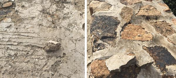 经过三合土处理的长城表面(左)和经过水泥处理的长城表面(右)。