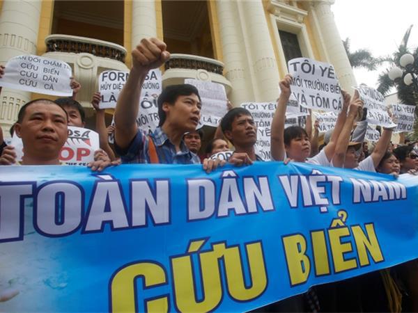 """2016年5月,越南暴发稀有大范围""""环保""""陌头反对,当局称与越新党有关"""