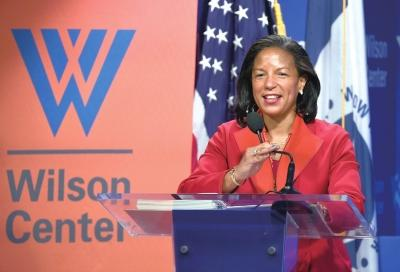 10月14日,在美国华盛顿的威尔逊中心,美国总统国家安全事务助理苏珊・赖斯就对古巴新政策发表讲话。新华社发