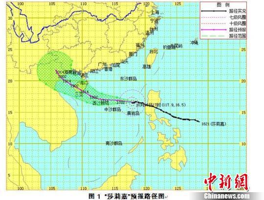 """21号台风""""莎莉嘉""""预报路径图。 海南省气象台发布气象预报图"""