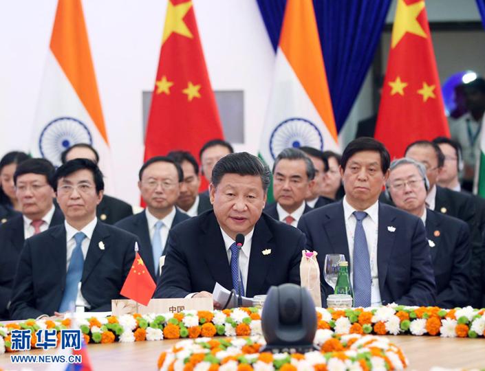 当地时间2016年10月16日,国家主席习近平出席在印度果阿举行的金砖国家领导人第八次会晤并发表题为《坚定信心 共谋发展》的重要讲话。