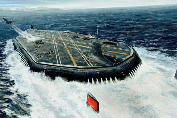 外媒披露中国水下航母:防水机库可装40架飞机