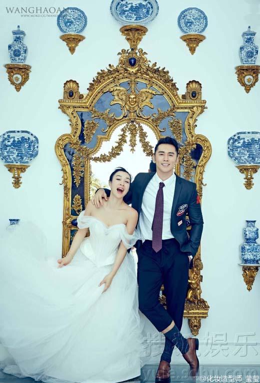 钟丽缇和张伦硕的婚纱照