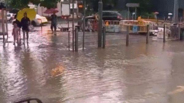 图为台风来临时的香港街道。