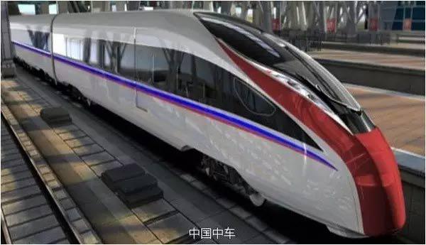 时速400公里可变轨距高速列车效果图。