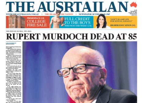 """【举世网归纳报导】若是在互联网上看到这张""""《澳洲人报》的头版相片"""",请万万不要受惊,由于传媒富翁默多克并未逝世,而图中也并不是《澳洲人报》。"""