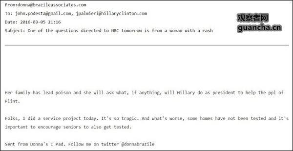福克斯电视报道引用图片:维基解密公布的布拉泽丽邮件,泄露问题
