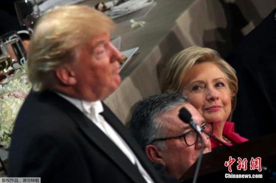 当地时间2016年10月20日,美国纽约,第71届Alfred E. Smith纪念基金会年度晚宴,民主党总统候选人希拉里、共和党总统候选人特朗普亮相。