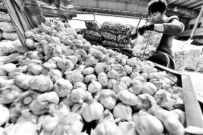 大蒜零价格钱与10月份比拟又有下跌,为每斤7.5元 供图/视觉国家