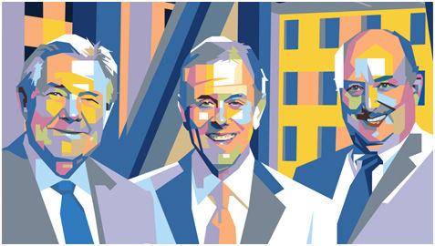 赫斯特集团的三位领人,本耐克(左),斯沃茨(中),赫斯特(右)