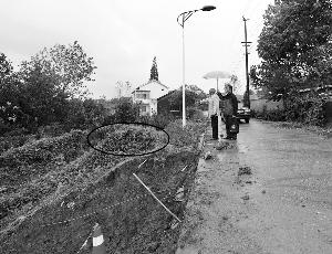 原文配图:扩路工程目前已停工,蓝洪银指着亲人的墓地。