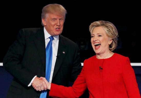美国大选总统候选人特朗普(左)与希拉里(右)