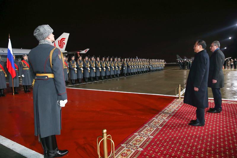 李克强结束访问俄罗斯乘专机离开莫斯科