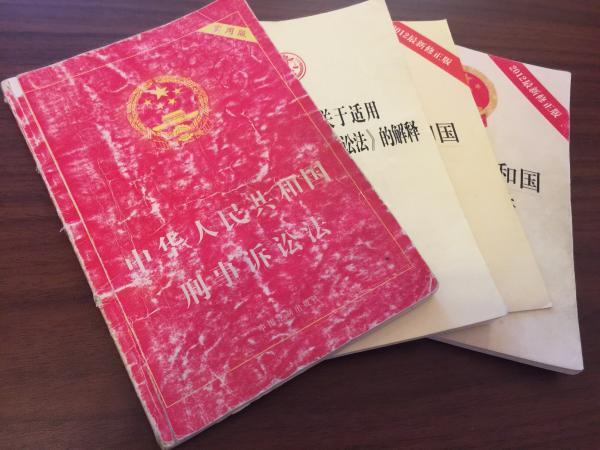 上访时,几本法条书陈春薷常带在身上,最老的一本刑诉法已经被翻旧。 澎湃新闻记者 王乐 图