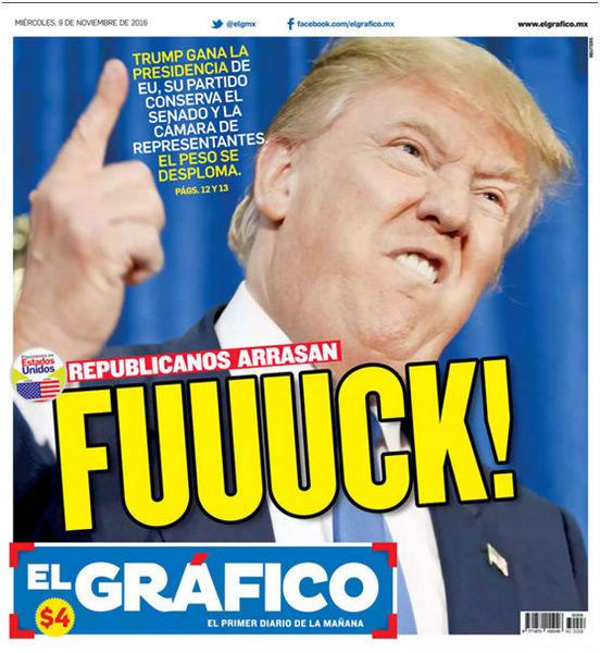 全球媒体头版这样报道特朗普当选美国总统