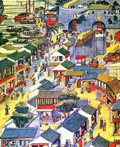 清代苏州集市(苏州桃花坞版画《姑苏阊门图》局部)