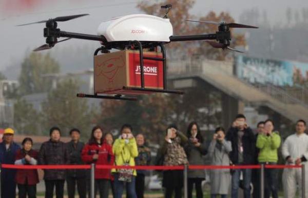 京东无人机在西安长安区西樊村送货