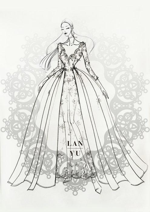 蕾丝花纹手绘婚纱