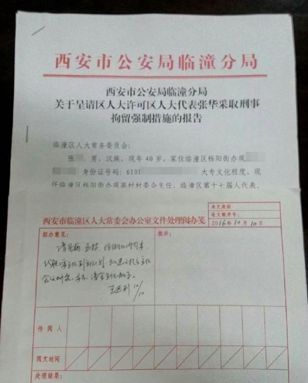 西安市公安局临潼分局关于呈请区人大许可区人大代表张华采取刑事拘留强制措施的报告。