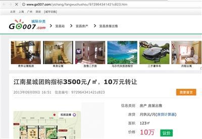 某网站上公开转让团购房指标的信息。