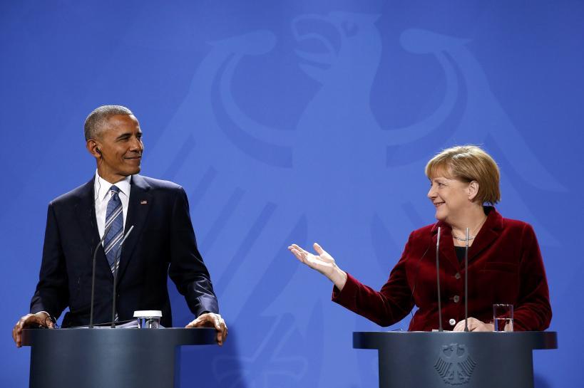 奥巴马与默克尔召开记者会