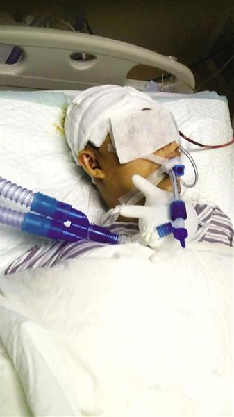 伤者魏成贺躺在病院至今仍不省人事,未渡过风险期。
