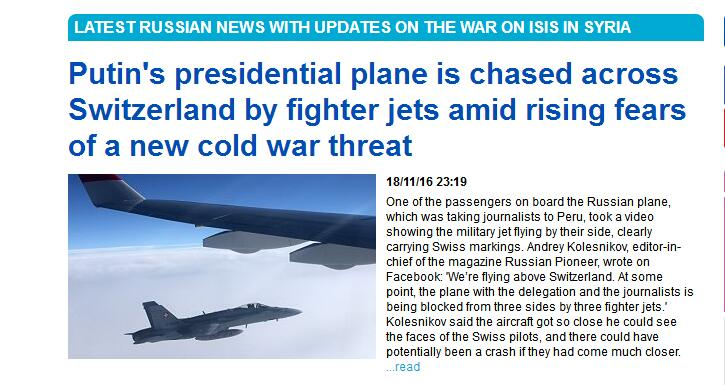【环球网报道 记者 余鹏飞】据英国《每日邮报》11月18日报道,一架搭载俄罗斯新闻记者和政府官员的伊尔-96总统专机在途径瑞士领空时,遭到三架瑞士空军F/A-18战机包围拦截,场面险象环生。