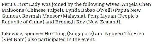 宋楚瑜女儿宋镇迈陪同出席本次APEC会议,秘鲁新闻通讯社又将宋镇迈误认为宋楚瑜的妻子。两张与台湾方面有关的新闻照片,秘鲁新闻通讯社均弄错。