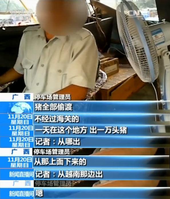 据了解,越南生猪的价格比中国生猪每公斤要便宜4块钱左右,越南生猪走私到中国,一般要经过越南收购商、中国中介商和中国内地猪贩子几道手,最后偷运到中国内地的屠宰场。郑老板是当地的一个中介商,每天都会有中国内地的猪贩子向他订货,他再从越南的收购商那里购买生猪,卖给中国内地的猪贩子,从中赚取差价。