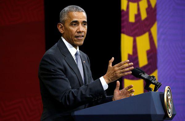 奥巴马在APEC领导人会议后举办新闻发布会。(图片来源:路透社)