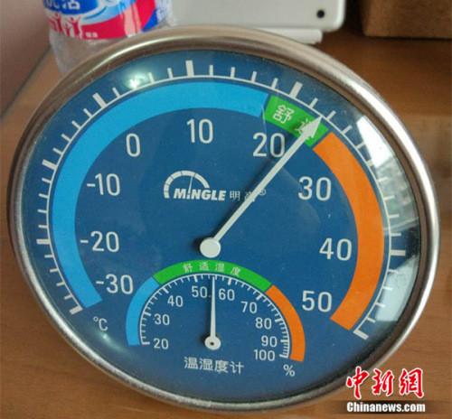 11月17日,北京天通苑一住民家中温度计显现室温超越20度。中新网邱宇 摄